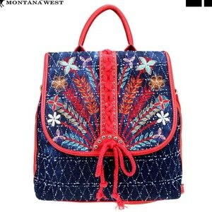 Montana West Bags - NWT • red denim embroidered backpack